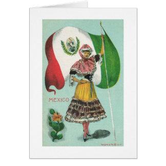 Cartão Senhora & Bandeira-Cedo mexicanas 1900's