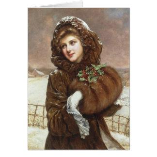 Cartão Senhora Bundled Acima do vintage para o inverno,