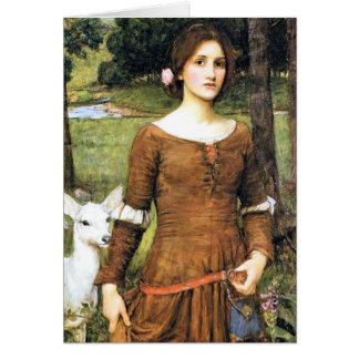Cartão Senhora Clare com uma jovem corça