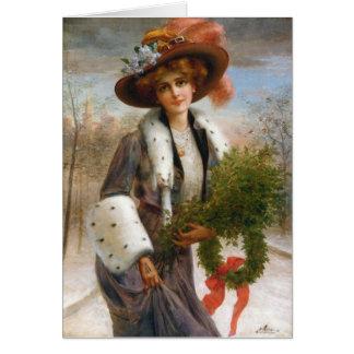 Cartão Senhora com ramos & grinalda do azevinho,