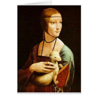 Cartão Senhora com um arminho