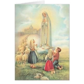 Cartão Senhora da igreja dos carneiros das crianças de