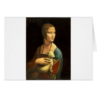 Cartão Senhora da pintura de Da Vinci original com um