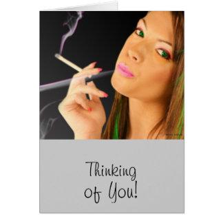 Cartão Senhora de fumo - efeitos de néon