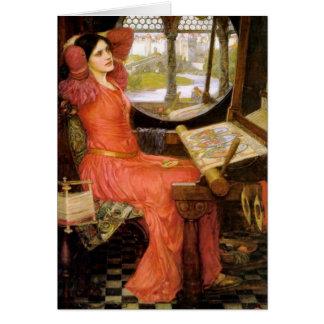 Cartão Senhora de Shalott que senta-se em sua mesa