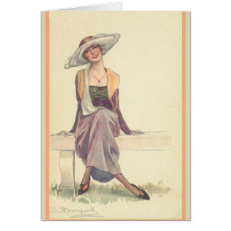Cartão Senhora de sorriso no banco de parque,