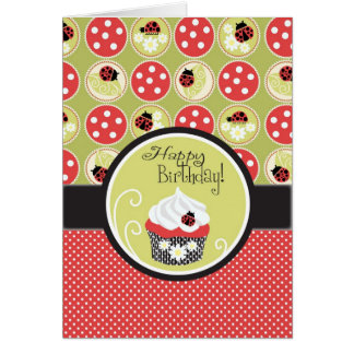 Cartão Senhora Desinsetar & aniversário do cupcake