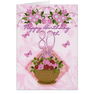 Cartão senhora do aniversário do 80, rosas e flores