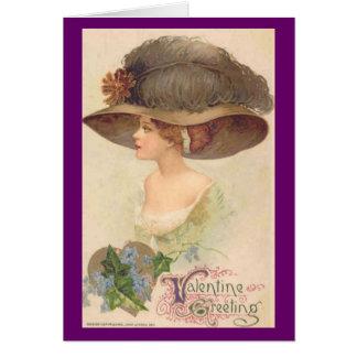 Cartão Senhora do Victorian do vintage em namorados do
