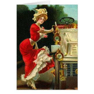 Cartão Senhora do Victorian e seu automóvel