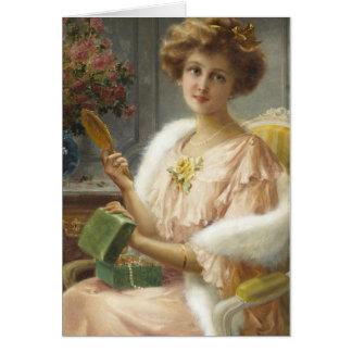 Cartão Senhora do vintage com a caixa do espelho & de