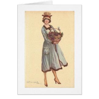 Cartão Senhora do vintage com a cesta das uvas,