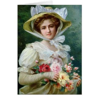 Cartão Senhora do vintage com rosas,