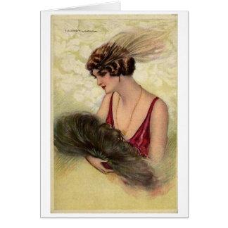 Cartão Senhora do vintage com um fã da pena,