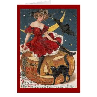 Cartão Senhora do vintage do Dia das Bruxas no vermelho