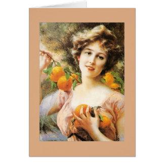 Cartão Senhora do vintage e árvore alaranjada,