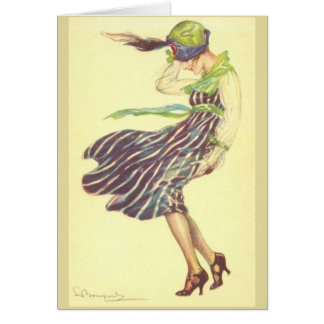 Cartão Senhora do vintage em um dia ventoso,