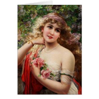 Cartão Senhora do vintage em um jardim de rosas,