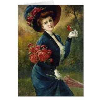 Cartão Senhora do vintage no azul com flores vermelhas,