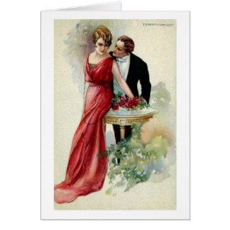Cartão Senhora do vintage no vermelho,