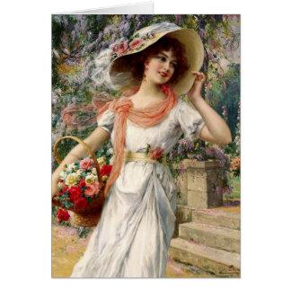 Cartão Senhora do vintage - uma caminhada no jardim,
