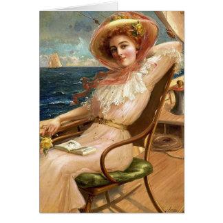 Cartão Senhora do vintage uma plataforma do veleiro,
