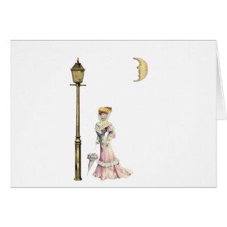 Cartão Senhora e lâmpada do Victorian