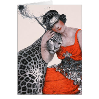 Cartão Senhora e leopardo