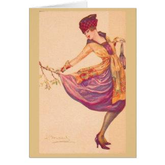Cartão Senhora elegante em uma senão,