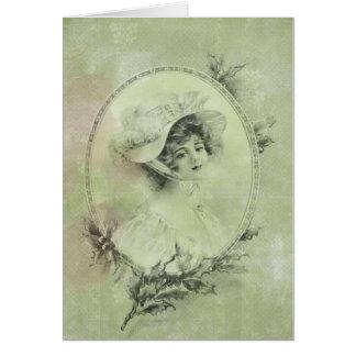 Cartão Senhora elegante Verde Pérola Laço do Victorian do