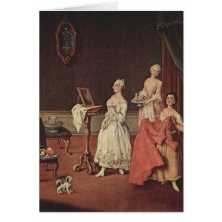 Cartão Senhora em seu Toilette por Pietro Longhi