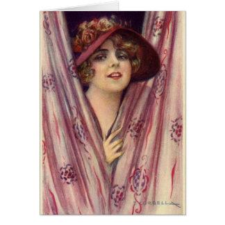 Cartão Senhora Flirty do vintage,