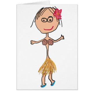 Cartão Senhora havaiana na saia de grama