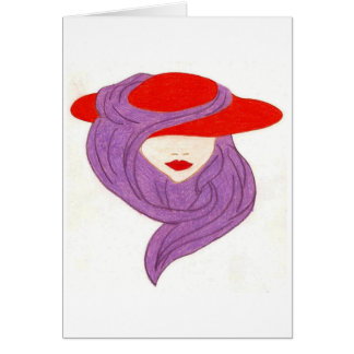 Cartão senhora no chapéu vermelho