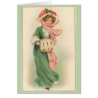 Cartão Senhora no rosa e no verde,