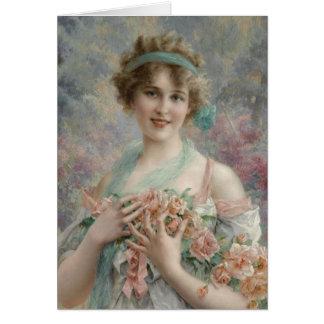 Cartão Senhora no rosa Pastel e azuis,