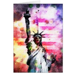 Cartão Senhora patriótica da liberdade
