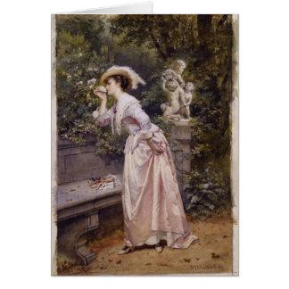 Cartão Senhora Smelling Rosa