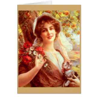 Cartão Senhora Sob do vintage uma árvore de Apple,