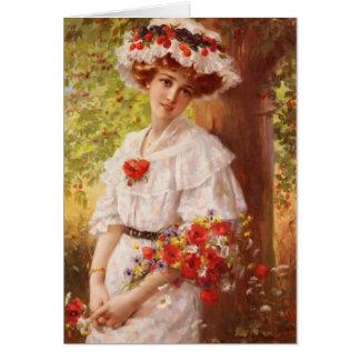 Cartão Senhora Sob do vintage uma árvore de cereja,