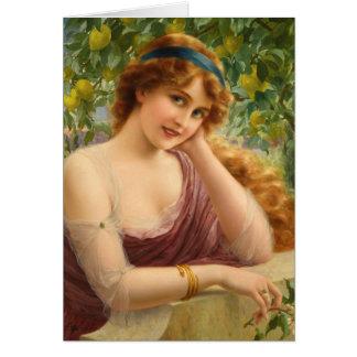 Cartão Senhora Sob do vintage uma árvore de limão,