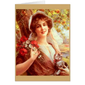 Cartão Senhora Sob uma árvore de Apple,