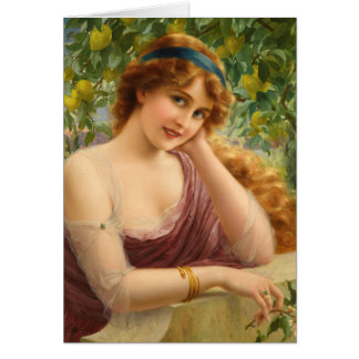Cartão Senhora Sob uma árvore de limão,
