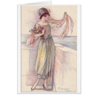 Cartão Senhora Waving Adeus,