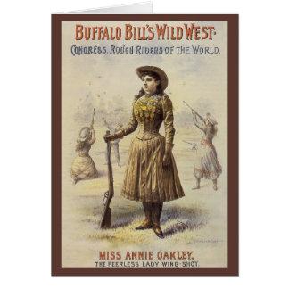 Cartão Senhorita Annie Oakley do vintage, vaqueira