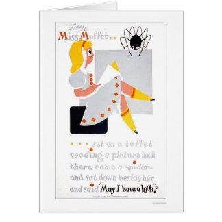 Cartão Senhorita pequena Muffet Leitura WPA 1940