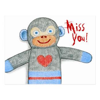 """Cartão senhorita Você"""" do macaco da peúga da """""""