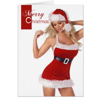 Cartão sensual do Feliz Natal da mulher