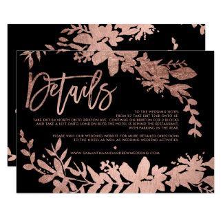Cartão Sentido preto floral do casamento do roteiro