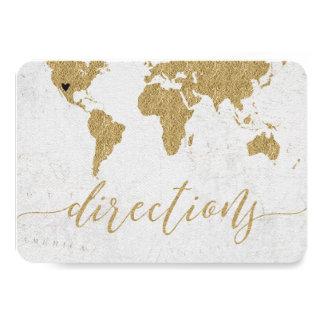 Cartão Sentidos do casamento do destino do mapa do mundo
